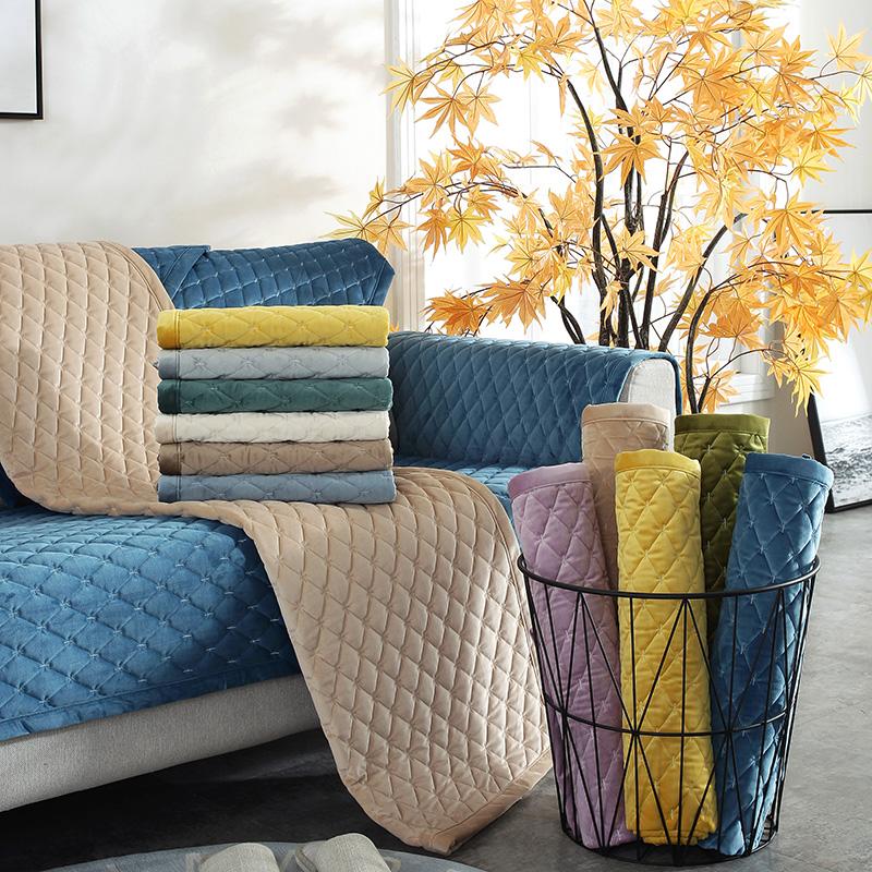 25.00元包邮冬季加厚毛绒沙发垫防滑四季通用实木布沙发套罩巾盖布贵妃椅定做