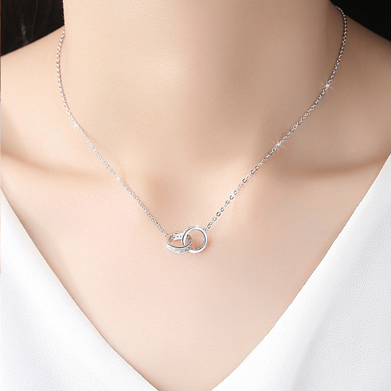 Necklace, Sterling Silver birthday gift, platinum ring clasp, diamond inlaid clavicle chain s999 Silver Necklace