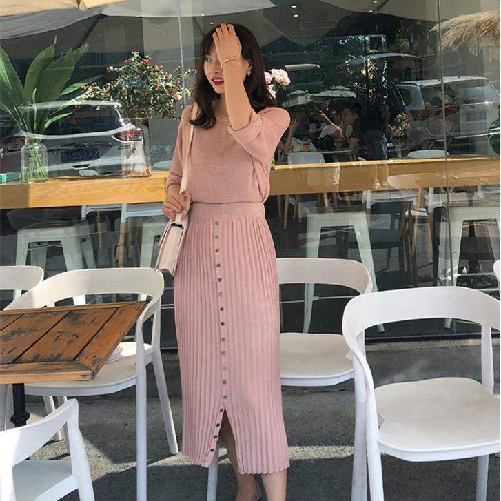 MSJAJA  粉色针织半身裙+中长款针织衫两件套装 [前15名送洗衣袋]