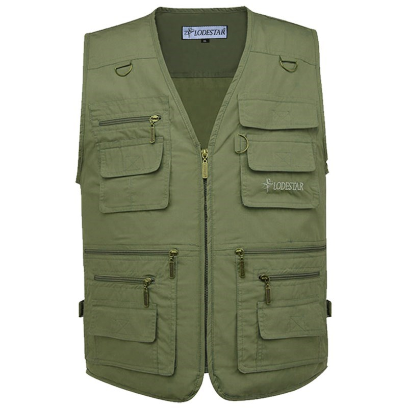 Mens vest, autumn and winter work clothes, fattening, multi pocket, plus size, fleece, fleece and wool, mens vest, waistband