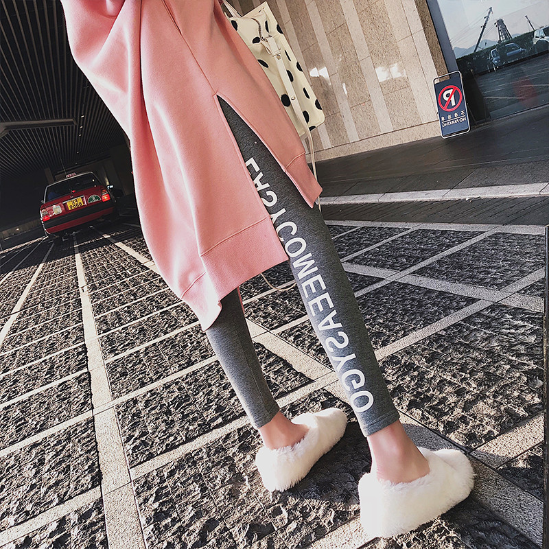 New fashion net red spring and autumn pregnant womens Leggings with grey letters not dropping crotch
