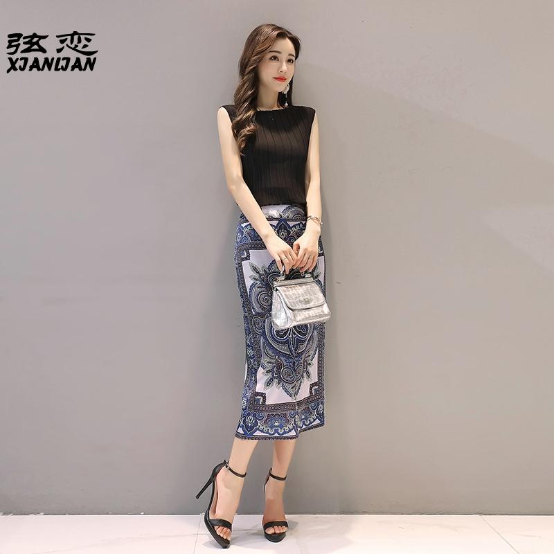 夏季中长新款女复古气质印花包臀包裙半身铅笔裙子步裙两件套装