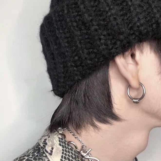 耳环2019新款潮欧美朋克嘻哈个性冷淡暗黑系钛钢耳钉耳夹网红男女