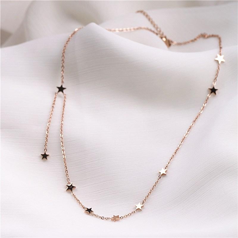 气质百搭五角星流苏钛钢锁骨链玫瑰金颈链装饰星星吊坠短款项链女