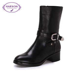 【488元2双】哈森冬简约牛皮女款靴子方跟中筒圆头时装靴HA49065
