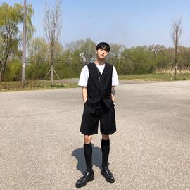 子上男装 夏季薄款潮流宽松马夹外套黑色时尚韩版西装马甲套装男图片