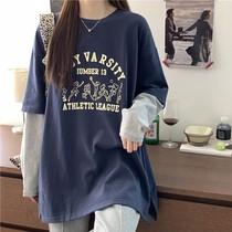 胖mm大码假两件长袖T恤女开叉春装新款韩版宽松200斤显瘦藏肉上衣