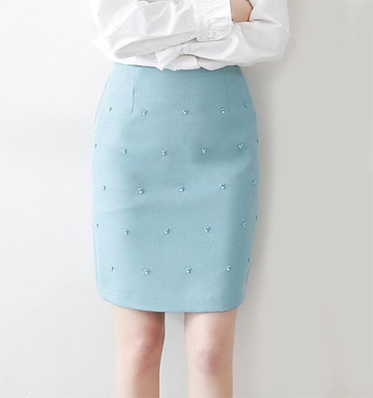 18春夏女装新款高端原单蒂凡尼蓝通勤包臀显白立体钉珠半裙短裙