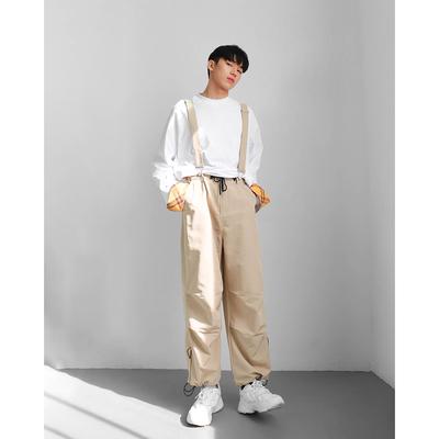 雀斑男装韩版男潮背带休闲九分裤运动风宽松背带裤3色