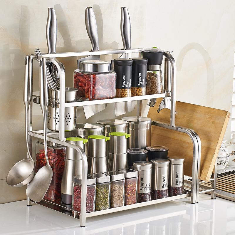 不鏽鋼落地廚房置物架調味調料收納架子廚具用品2層儲物壁掛刀架