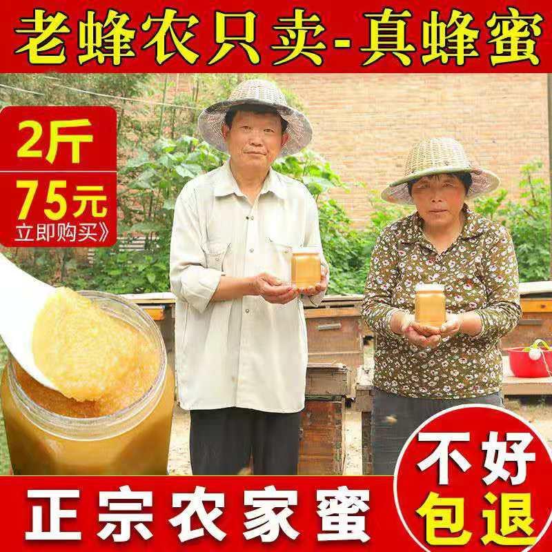 蜂蜜纯正天然农家自产正品瓶装1000g正宗孕妇真百花蜜野生土蜂蜜