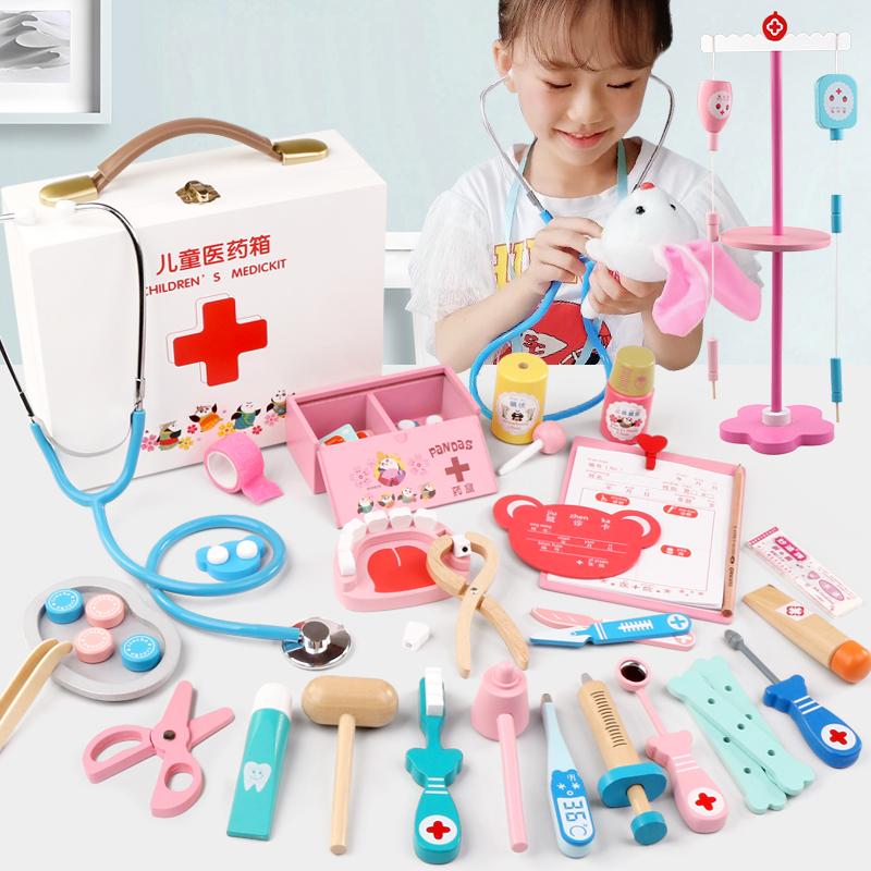 儿童医生玩具套装女孩打针工具木制仿真医疗箱男宝宝过家家听诊器