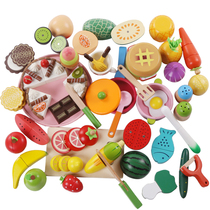 Lok Wood wood magnetic cut fruit toys childrens vegetables have seen the family baby boys and girls cut music