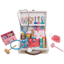 Wooden Childrens home toy girl simulation Medicine Box Doctor toy kit injection Stethoscope