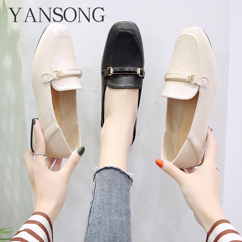 小皮鞋女英伦复古时尚新款舒适方头粗跟低跟休闲单鞋网红豆豆鞋图片
