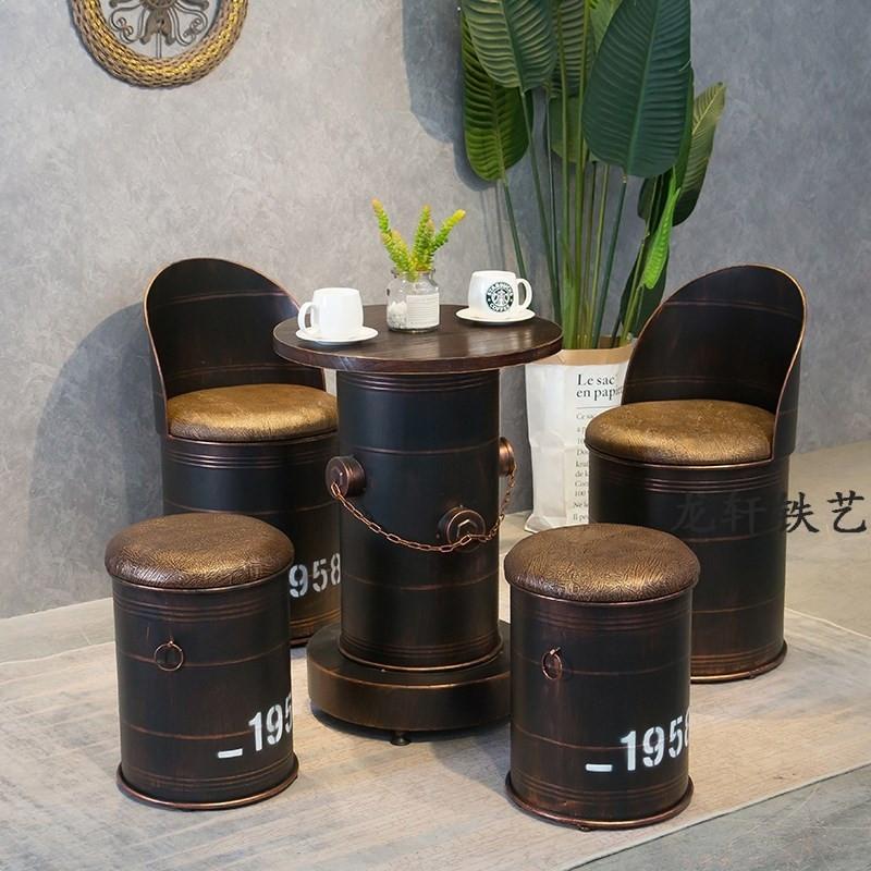 网红凳子拍照复古工业风酒吧奶茶甜品美发店桌椅铁桶凳椅子油桶椅