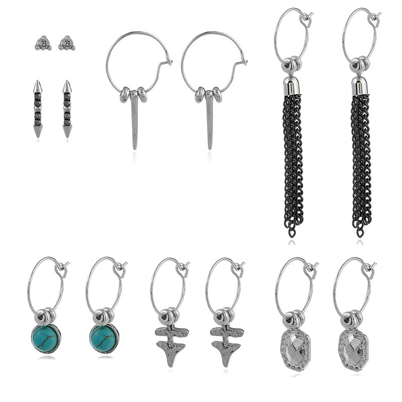 Buy one get one free European and American mix fashion multi piece Chain Pendant Earring Set Earring