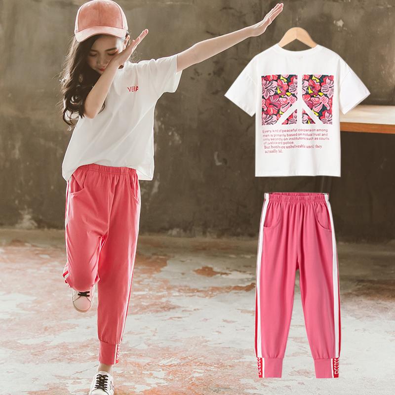 券后59.90元女童套装夏季装2019新款韩版时尚运动超洋气时髦两件套中大童装潮