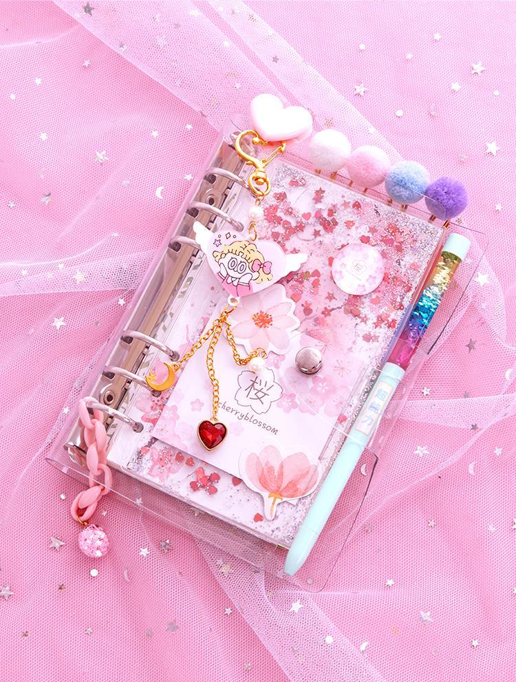 活页手账本工具材料全套少女心方格网红笔记本子流沙梦幻樱花套装