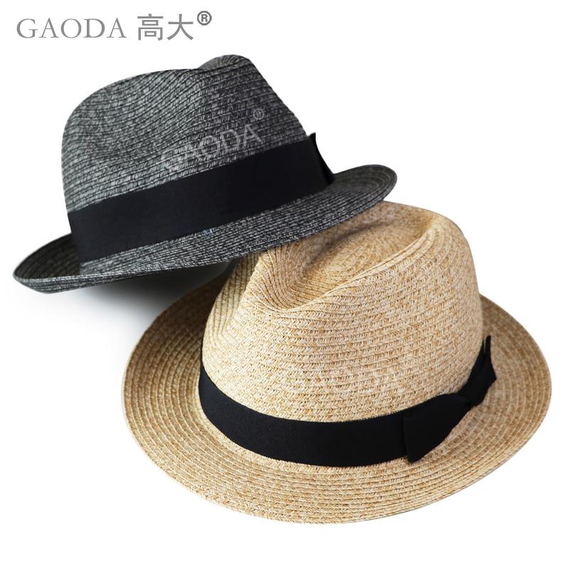 男女小禮帽 蝴蝶結草帽 男女大小號紙草遮陽帽透氣太陽帽子有超大