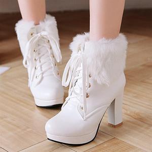 2021新款毛毛雪地靴女秋冬季加绒系带马丁靴防水台白色高跟短靴子
