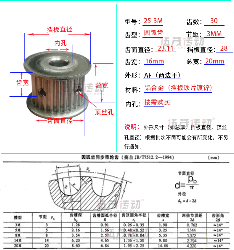 Htd3m25 tooth synchronous pulley 3m25 tooth spot synchronous pulley other specifications can also be customized