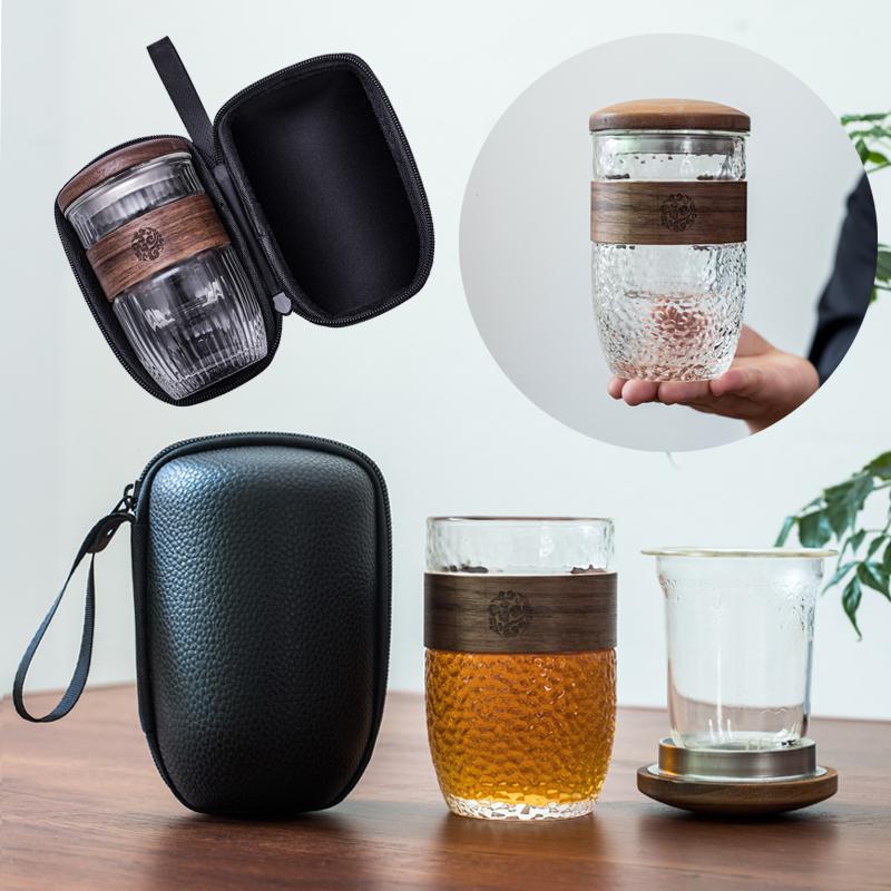 防烫玻璃旅行茶具套装便携式包随身茶水分离快客泡茶杯单人花茶杯