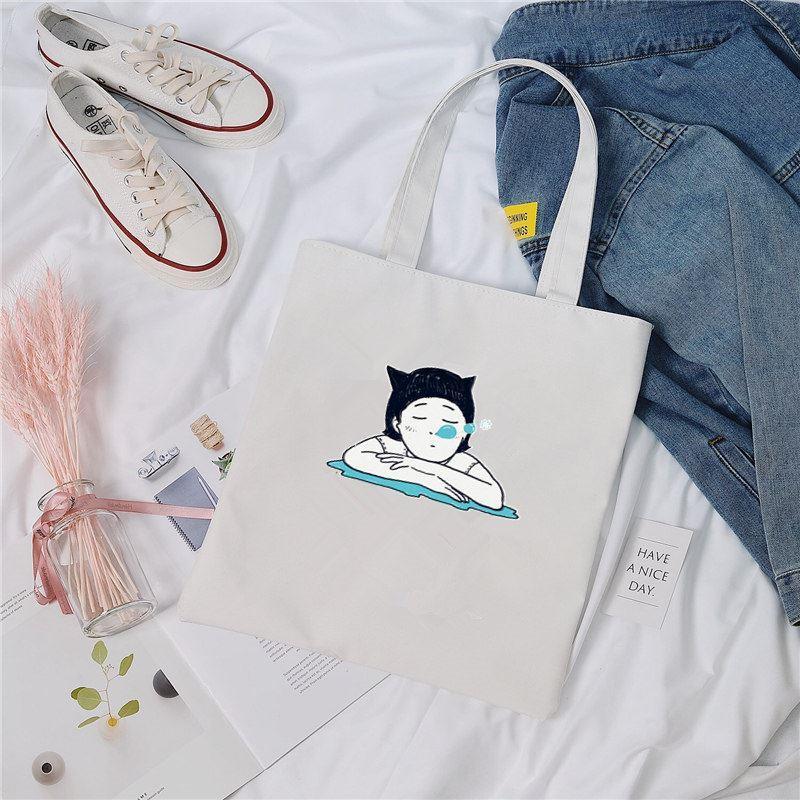 环保袋女帆布潮小号收纳袋加厚耐用 帆布方便折叠包兜 便携手提包