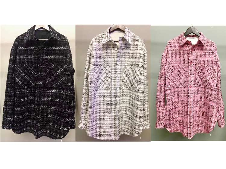 Charlie Luciano 19ss黑白粉色编织格纹格子衬衫外套薄款
