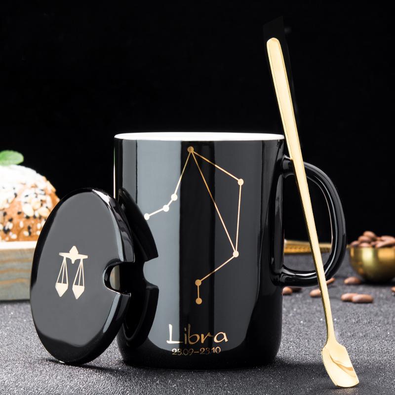 创意十二星座杯子陶瓷带盖勺马克杯(非品牌)