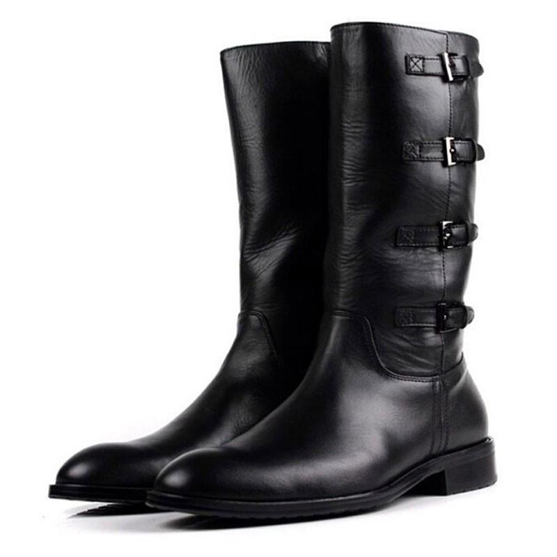 High end brand British high top mens shoes fashion trend riding boots leather buckle medium high top Leather Boots Mens boots cowboy