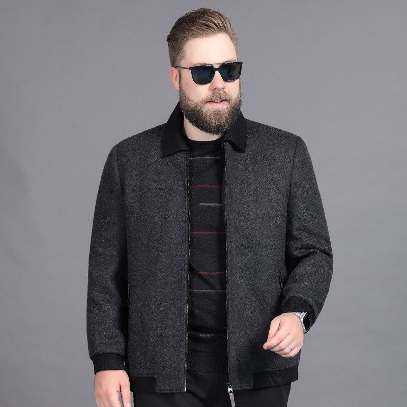 Fashion brand autumn and winter clothes plus fat oversized mens wool jacket extra large fat guy loose detachable