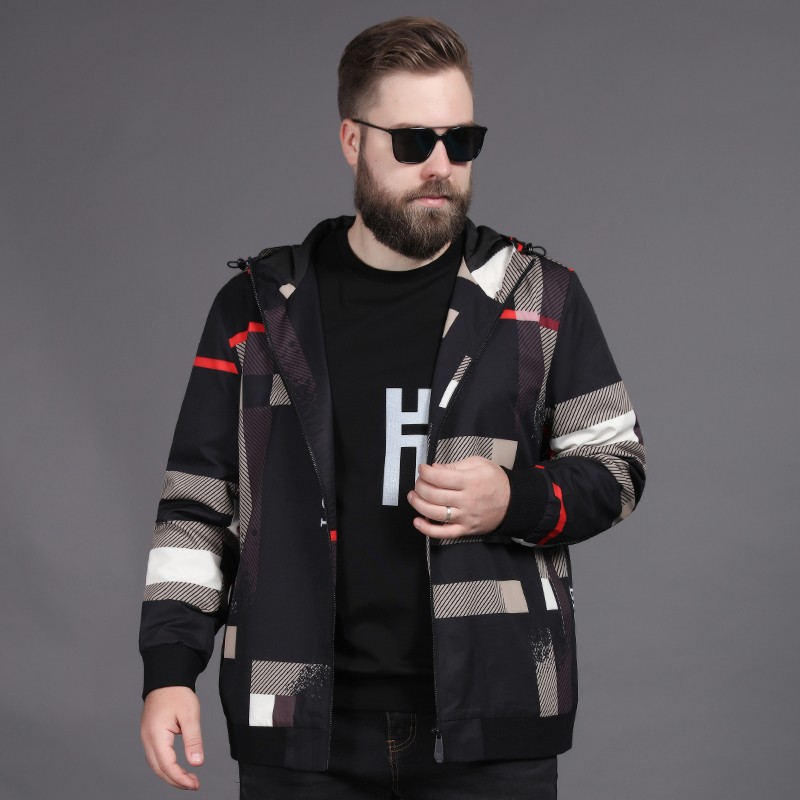 Fashion brand spring and autumn tide fat oversized mens Hooded Jacket Coat extra large fat guy loose fashion tide