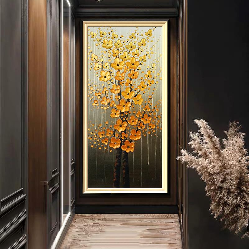 3d立体现代简约竖版轻奢发财树纯手绘油画客厅挂画走廊玄关装饰画