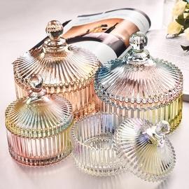 包邮北欧复古水晶玻璃糖罐婚庆家用客厅厨房储物罐糖缸首饰盒图片