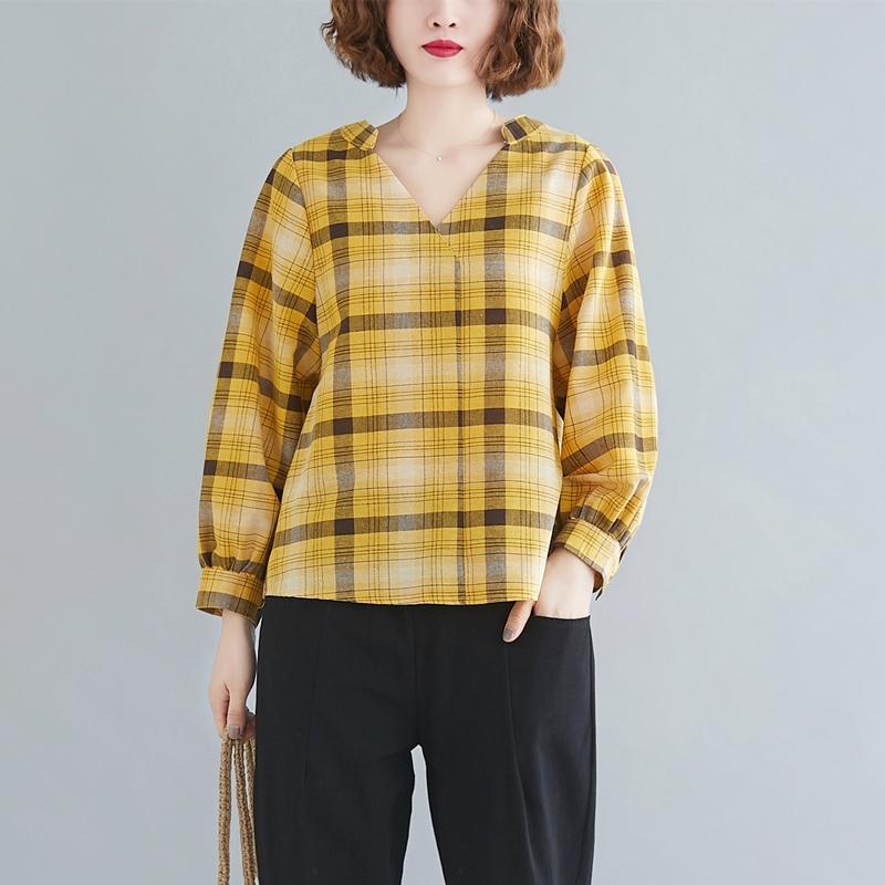 2020秋季新款女装文艺百搭V领棉麻上衣衬衣