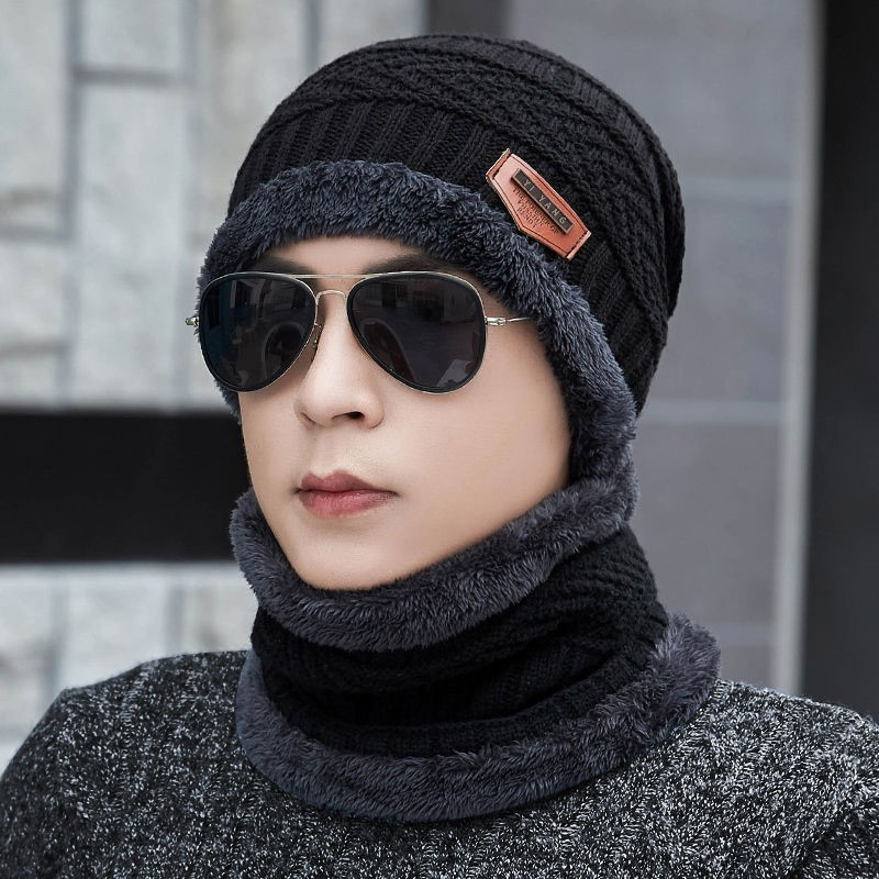 ? Hat man winter Plush Wool Knitted Hat Cotton thickened warm