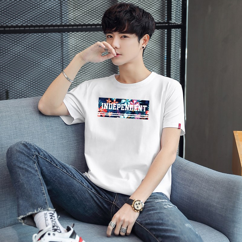 Mens fashion brand short sleeve T-shirt summer clothes half sleeve t-shirt mens cotton loose fashion Hong Kong style white boys T-shirt