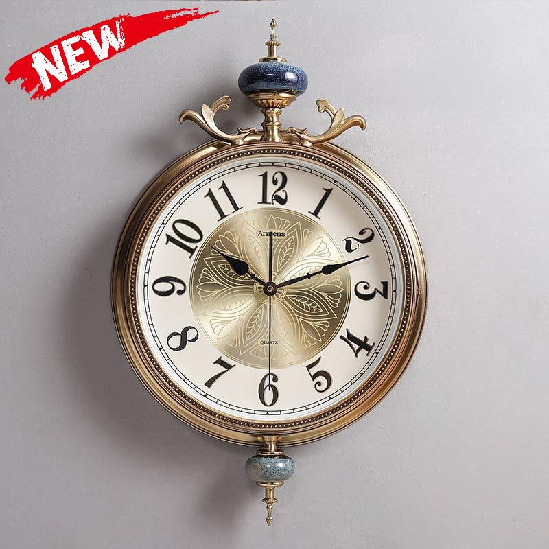 客厅欧式新款挂钟大气装饰艺术时钟美式奢华铜钟表家用时尚大挂表,可领取元淘宝优惠券