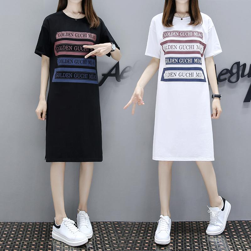 欧洲站2018夏季新款宽松印花短袖T恤中长款原创设计百搭连衣裙女