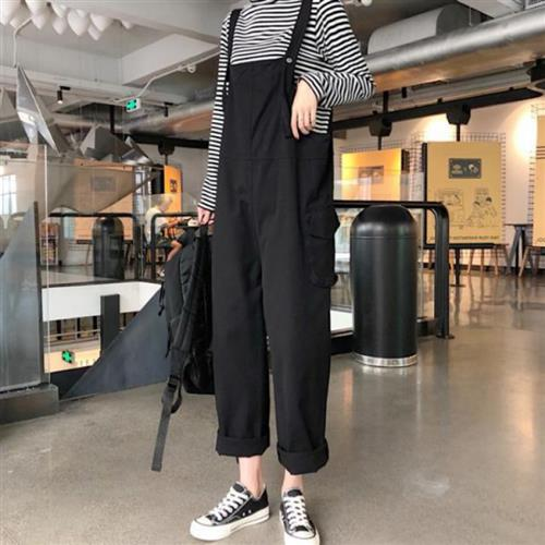 New summer tooling straight tube strap show P thin loose casual Korean style pocket age reducing loose sling one-piece pants
