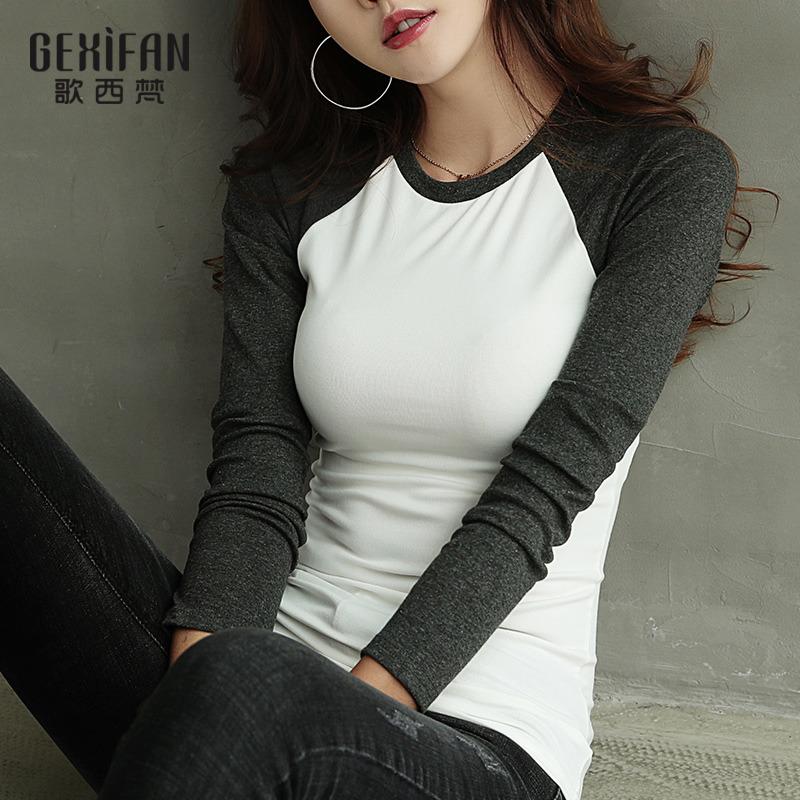 歌西梵2018秋季韩范新款拼接长袖T恤女白色修身全棉上衣打底衫