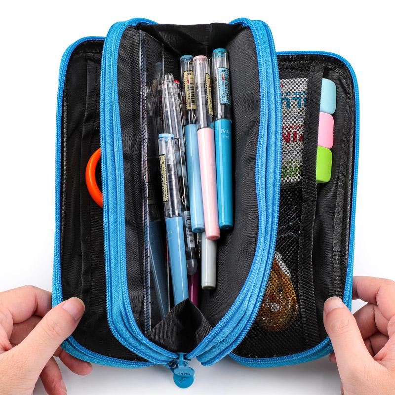 晨光笔袋男初高中生简约超大容量小学生创意双层多功能文具盒女孩拉链帆布文具袋铅笔袋笔盒批发