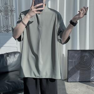 冰丝男短袖夏季港风日系设计感衬衫