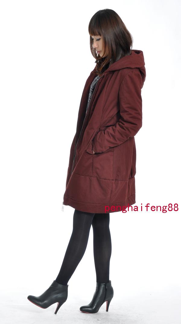秋冬新款加大码女装韩版棉衣带帽长款显瘦外套大号风衣大衣LM802