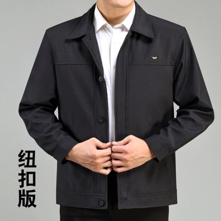 男装外套爸爸装入秋休闲运动纯黑褐色商务男性宝蓝色精神中老年人