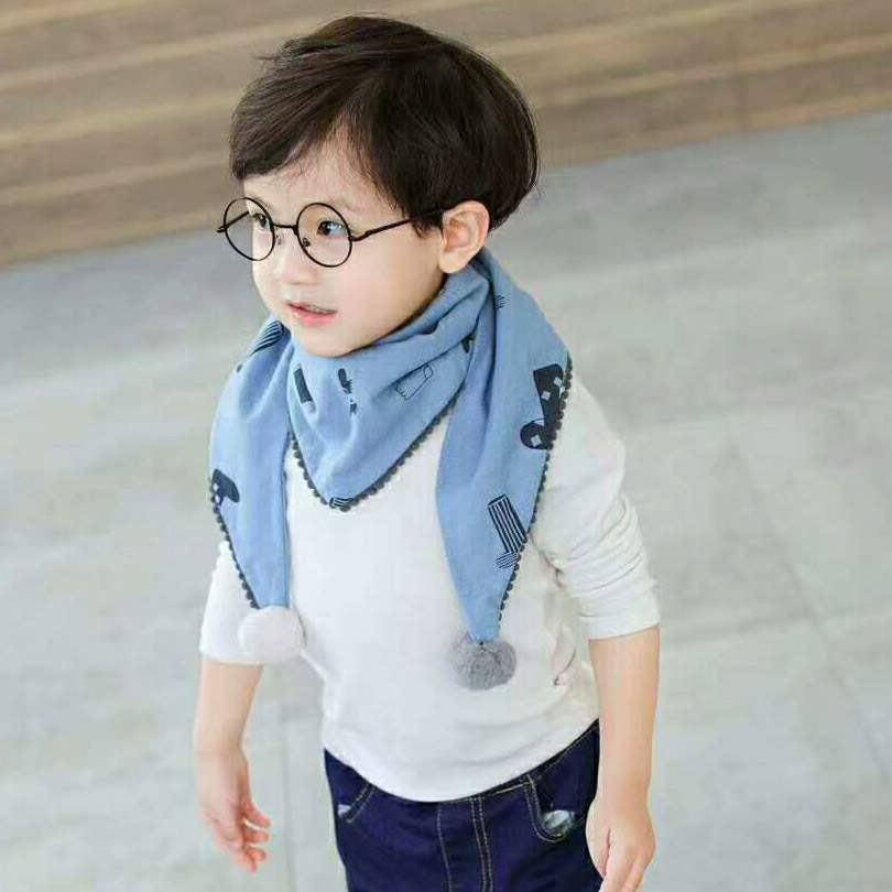 Childrens scarf Bib baby man Bao female Pure Cotton autumn winter neck cover spring and autumn thin girl baby triangle scarf winter