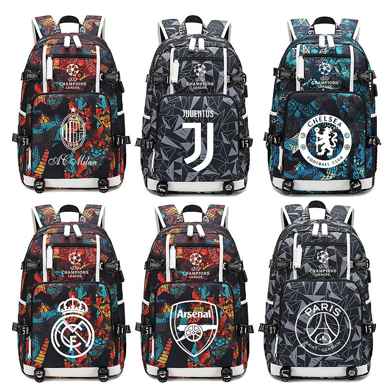 欧冠英超切尔西皇马尤文AC米兰巴萨利物浦双肩包足球背包学生书包