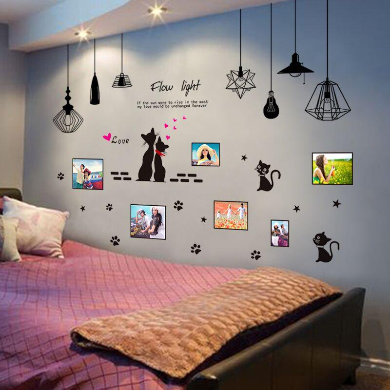 猫咪北欧贴纸自粘墙贴画温馨客厅可爱相框照片墙上装饰品浪漫满屋