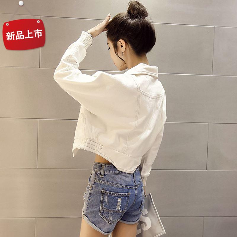 韩版白色牛仔外套女短款春秋装新款bf显瘦小夹克潮百搭牛仔衣宽松